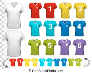 Collection of various colorful soccer jerseys with numbers....
