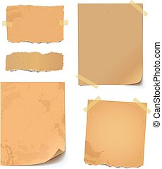 Collection of various crumpled note papers with curled corner and adhesive tape, ready for your message. Vector illustration. Isolated background. Front view. Top view. Close up. Set