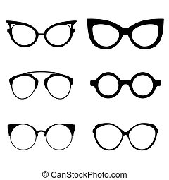 Collection of various glasses. To be worn by women, men and children. Eye glasses set.