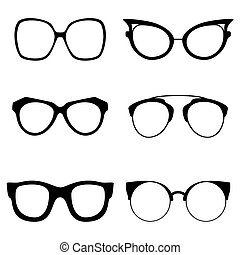 Collection of various glasses. To be worn by women, men and children. Eye glasses set. Vector illustration