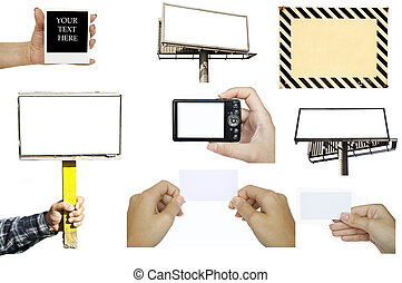 Collection of various hand holding empty objects : business card - billboard - digital camera