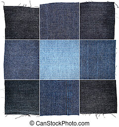Collection of various jeans fabric textures