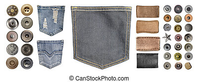 collection of various jeans parts