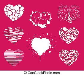 Collection of various love heart symbol shapes
