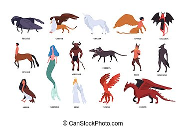 Collection of various magical mythical creatures isolated on white background. Bundle of flat cartoon characters and heroes of fairy tales, fantasy legends, mythology. Colorful vector illustration.