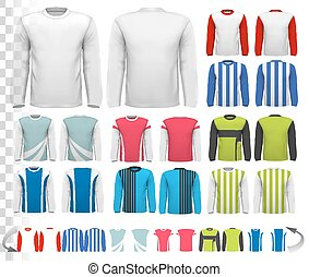 Collection of various male long sleeved shirts. Design template. The shirt is transparent and can be used as a template with your own design. Vector.