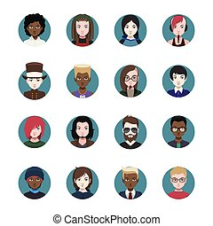 Collection of various men avatars