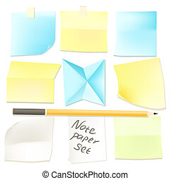 Collection of various note papers ready for use