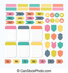 Collection of various note papers with different tape strips. Template for notebooks. Monthly planner. Notes, labels, stickers. Cute design elements