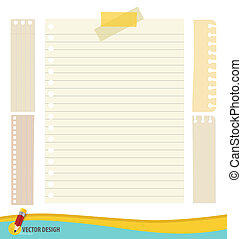 Collection of various papers, ready for your message. Vector illustration set: tape and blank paper designs.