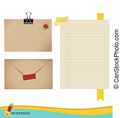 Collection of various papers, ready for your message. Vector illustration set: envelope, stamp, tape, ribbon and blank paper designs.