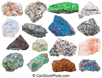 collection of various raw mineral stones