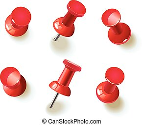 Collection of various red pushpins - Collection of various...