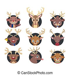 Collection of various reindeer portrait avatars