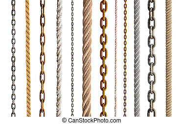 collection of various rope and chain on white
