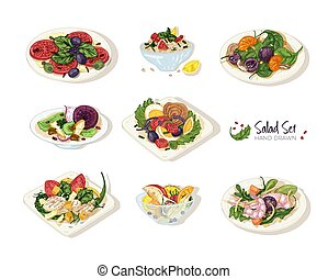 Collection of various salads lying on plates and in bowls isolated on white background - Tabbouleh, Nicoise, Caesar, Waldorf, fruit. Set of hand drawn healthy restaurant meals. Vector illustration.