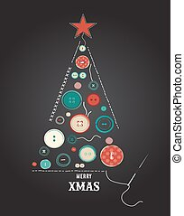 collection of various sewing buttons organized as Christmas tree