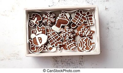 Collection of various shaped gingerbread Christmas cookies...