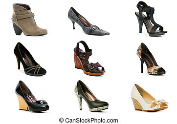 Collection of various shoes isolated on white