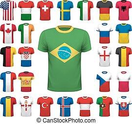 Collection of various soccer jerseys. National shirt design....