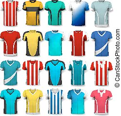 Collection of various soccer jerseys. The T-shirt is transparent and can be used as a template with your own design. Vector