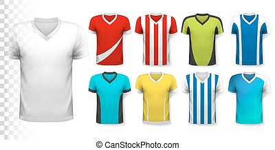 Collection of various soccer jerseys. The T-shirt is transparent and can be used as a template with your own design. Vector.
