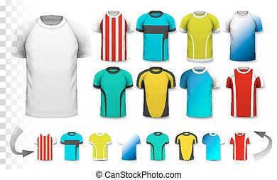 Collection of various soccer jerseys. The T-shirt is ...