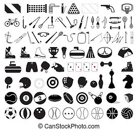 Collection of various sports accessories. A vector ...