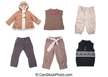 Collection of various types of children clothes