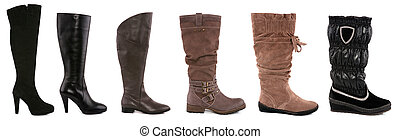 Collection of various types of female boots