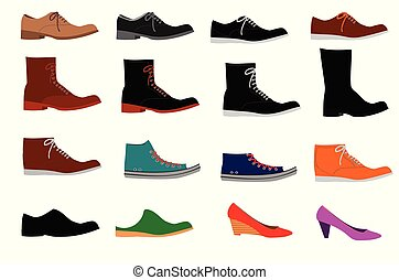 Collection of various types of shoes on white background