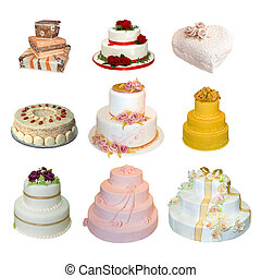 Collection of various types of wedding cakes