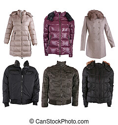 Collection of various types of winter jackets isolated on...