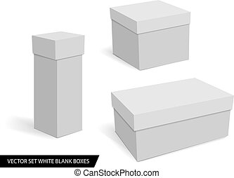 collection of various white blank boxes