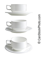 collection of various white  cups