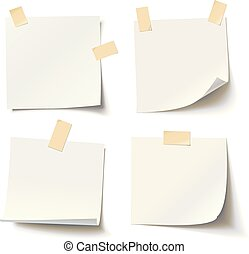 Collection of various white note papers with curled corner and adhesive tape