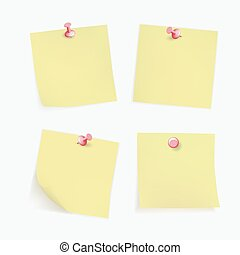Collection of various yellow note papers with curled corner, pinned red pushbutton, ready for your message. Vector illustration. Isolated on white background. Front view. Top. Close up.