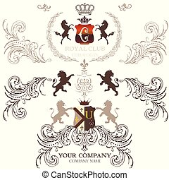 Collection of vecotr heraldic elements for design.eps -...