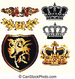 Collection of vecotr vintage heraldic elements
