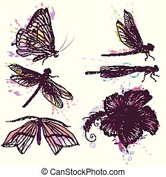 Collection of vecotr watercolor spring butterflies and dragonflies