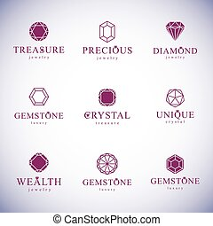 Collection of vector abstract geometric figures best for use as elegant business logo. Diamond design element.
