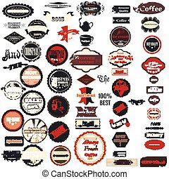 Collection of vector badges labels in retro style