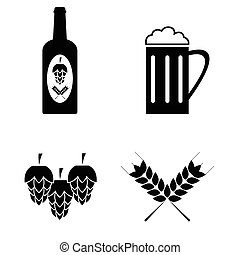 Collection of vector beer icons set.