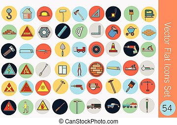 Collection of vector building flat icons