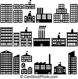 Collection of vector building silhouettes with windows