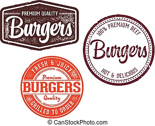 Collection of Vector Burger Stamps