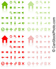 Collection of vector buttons with reflection. Active and...