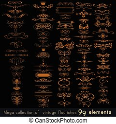 Collection of vector calligraphic elements, flourishes and page decorations, mega set for design.eps