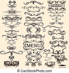 Collection of vector calligraphic elements - Vector set of...
