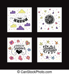 Collection of vector cards with hand drawn summer quotes. Handwritten with ink and brush pen.